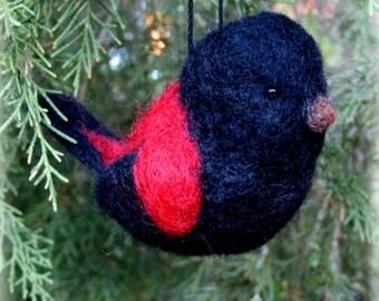 Needle Felted Bird Ornament Bird Decor Wool Sculpture Bird Sculpture OOAK