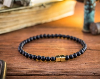4mm - Matte black onyx beaded stretchy bracelet with gold cube beads, black mens beaded bracelet, gemstone bracelet, minimalistic