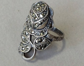 Uncas Sterling and Marcasite Rose Wrap Ring Size 6
