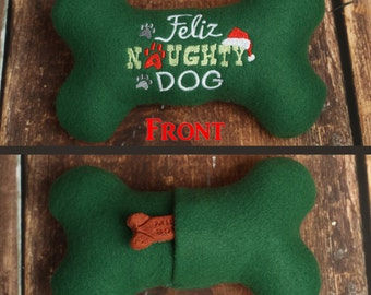 Feliz Naughty Dog Christmas Dog Toy Stuffed Squeaky Dog Bone