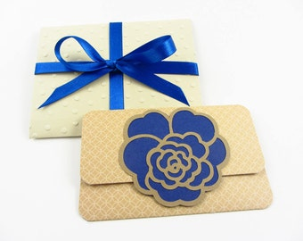Gift Card Holders and Embossed Envelopes (2) - Blue and Gold