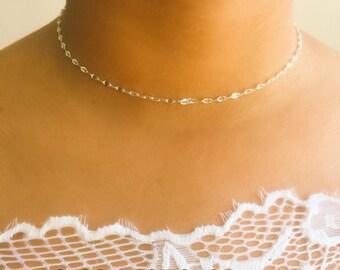 Silver Choker Necklace, Dainty Choker