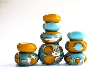 Focal Bead Set, Big Hole Beads, Handmade Beads, Large Hole Bead, Sari Silk, Saffron, Blue, Glass, Beads, European Beads, Big Beads, Supplies