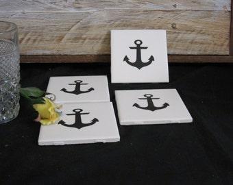 Anchor Tile Coasters, Black Anchor Ceramic Tile Coasters, Tile Coasters, Drink Coasters, Coasters