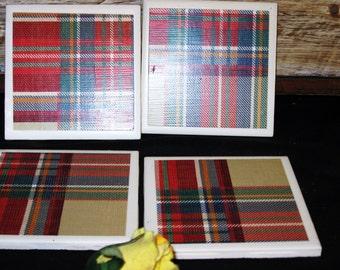Country Plaid Tile Coasters, Ceramic Tile Coasters, Coasters, Drink Coasters,