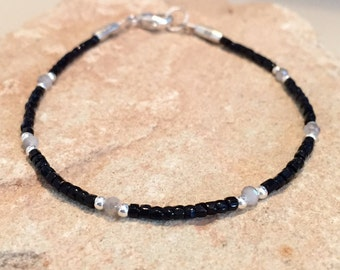 Black bracelet, sparkly crystal bead bracelet, seed bead bracelet, sterling silver bracelet, boho bracelet, fall bracelet, gift for her