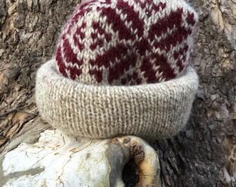 Vintage Wool Burgandy and Cream Hat