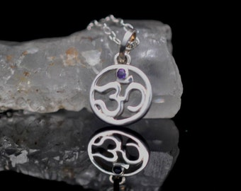 Ohm pendant, Sterling Silver with natural amethyst yoga jewelry, Sanskrit