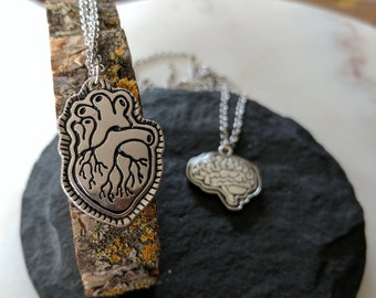 Anatomical Heart + Brain Necklace