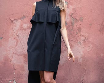 Summer shirt / Asymmetric black shirt / Asymmetric summer shirt / Sleevless black shirt / Asymmetric summer shirt dress
