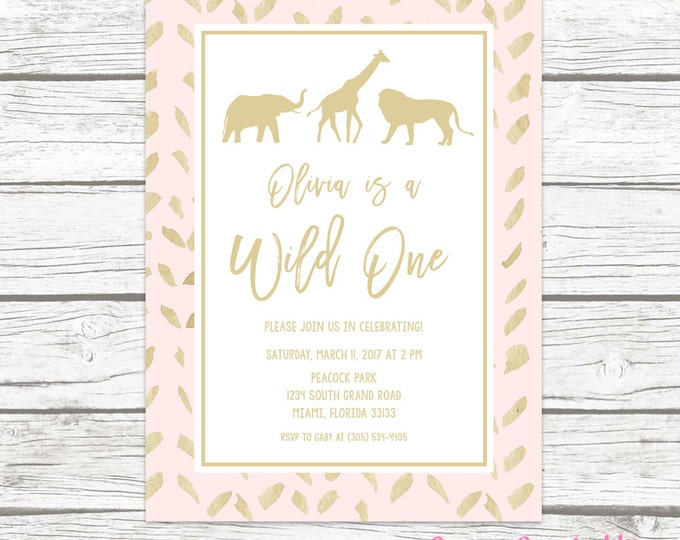 Wild One Birthday Invitation, Pink and Gold Tribal Safari Animal Girl First 1st Birthday Party Invitation, Printed Printable Jungle Invite