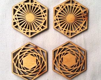 Geometric Wood Coasters, Laser Cut, Pine