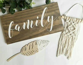 Wooden Family Sign Handmade & Painted, Gallery Wall Decor  (18.4 x 40 x 2cm) Wood Sign Australia