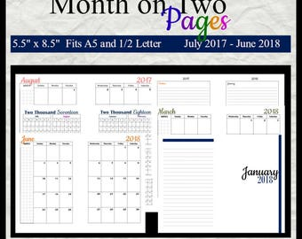 "Academic Year A5 Month on 2 pages 5.5"" x 8.5"" Sunday Start From July 2017-June 2018 Printable (PDF File)"