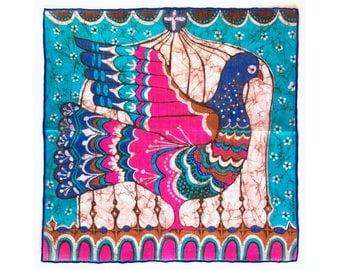 Batik-style Bird in Cage vintage ladies' handkerchief, signed Stoffels, hankie, hanky, H36