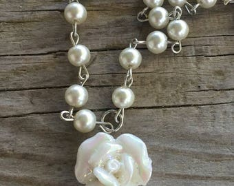St Therese chaplet with white rose