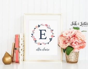Monogram Print - Personalized Name Print - Custom Girl Nursery Decor - Navy and Blush Nursery Art - Navy and Pink - Digital Printable - 8x10