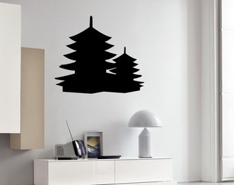 Wall Vinyl Decal Asian Temple Pagoda Oriental Modern Abstract Decor Pop Art (#2415dn)