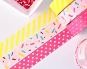 Sprinkles Washi Tape Set - 3 Rolls: Pink Teal Blue Yellow Sprinkles - Yellow Diagonal Stripe - Berry Pink Dot - Birthday Washi Tape Set