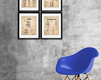 Movie Theater Decor, Star Wars Patent, Star Wars Art, Star Wars Printable, Yoda, R2-D2 C-3PO, Stormtrooper, Print Set of 4, Poster
