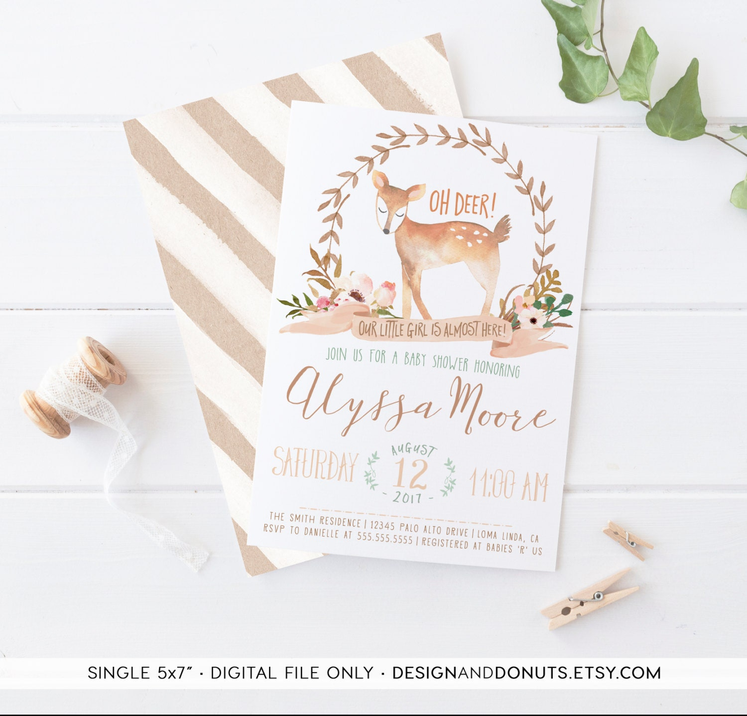 deer baby shower invitation woodland themed watercolor