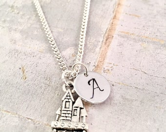 Little Girl necklace, personalized initial charm necklace, castle charm necklace, Harry Potter Fan,  little girl jewelry, HP Fandom