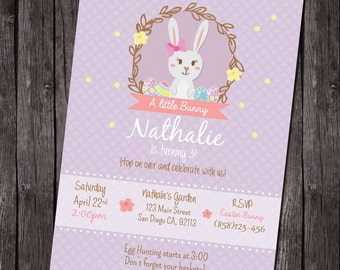 Printable Easter birthday party invitation, girl birthday invitation, easter party, egg hunt invitation, little bunny birthday, spring