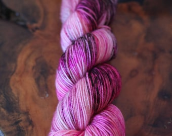 "Hand Dyed ""Cherry Blossom"", Sport, Super Wash Merino, Wool, Speckles, Knitting, Crochet, Yarn"