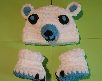Super Soft Crocheted Baby Bear Hat and Boots