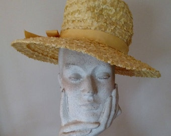 Vintage Mr. Lewis Yellow Brimmed Raffia Straw Hat / Grosgrain Ribbon Band with Bow/ 1960s