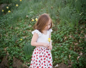 Ladybug Skirt - Girls Skirt - Toddlers Skirt, Ladybugs, Summer Skirt, Girls Clothing, Red and White