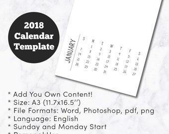11x17 calendar template word