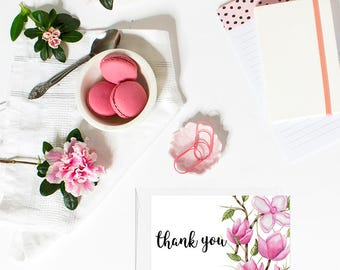 PRINTABLE Thank you cards, Bridal shower thank you cards, Thank you cards baby shower, Floral Cards, Thank you wedding cards