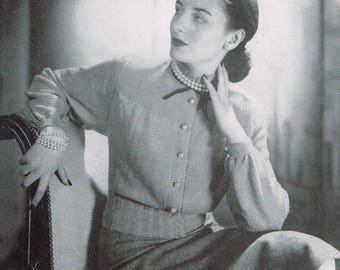 Vintage 40s Knitting Pattern - Woman's Long Sleeve Blouse from 1946 - instant download PDF - 1940's Retro Top
