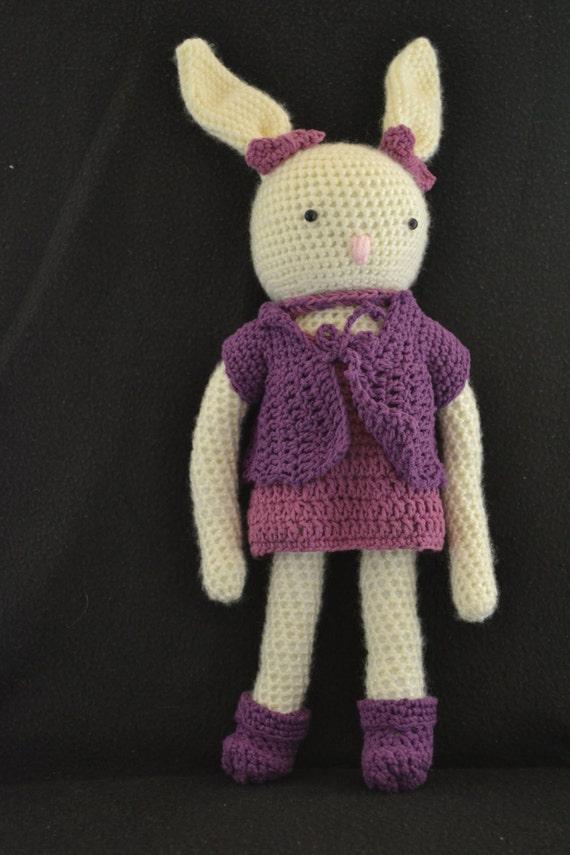 Amigurumi Bunny In Dress : Crocheted Bunny Amigurumi Doll Amigurumi Bunny Dress Up