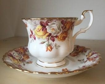 "Royal Albert ""Lenora"" Teacup and Saucer, Autumn Orange Yellow and White Rose Tea Cup and Saucer, English Bone China"