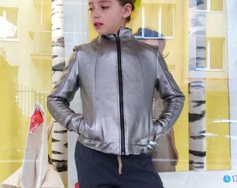 Grey faux leather jacket for girls/ Silver leather pleather jacket girl slim fit fake leather fabric/ Vegan leather/ Pu leather jacket kids