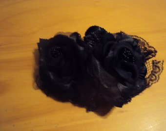Black Rose Hair Bows 092