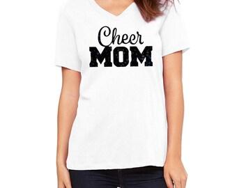 Custom Cheer Mom T-Shirt, Cheer Gear, Fan Gear, Cheer Mom Shirt, Glitter Cheer Mom Shirt, Cheerleading Mom