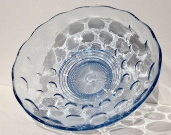 Blue Glass Bowl, Vintage Blue Console Bowl, Blue Centerpiece Glass Bowl, Blue Glass Fruit Bowl or Serving Bowl, Blue Pedestal Glass Bowl