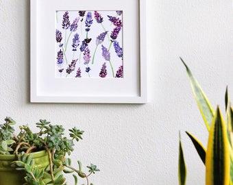 Lavender Watercolor Print, Fine Art Archival Giclee, 8x8 Square