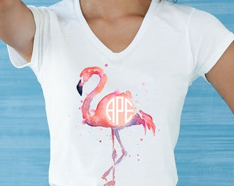 Flamingo Shirt - Monogram Shirt - Womens Monogram Shirt - Personalized Shirt - Summer Shirt - Monogram Tshirt - Monogrammed Shirt - Vneck -