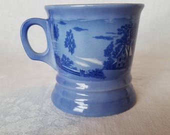 SHAVING MUG The Old Homestead in Winter Currier & Ives Blue White Gold Trim Ceramic Glass Barber Cup Razor Collect Vintage Retro Rustic
