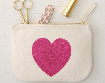 Small Zipper Case - Little Cosmetics Pouch - Canvas Makeup Holder - Pencil Case - Pink Heart Glitter Little Canvas Pouch - Alphabet Bags