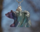 Fluorite Stone Bear Necklace ~ Purple and Green Stone Bear Pendant ~ Healing Stone Pendant ~ Sterling Silver Chain ~ Sterling Silver Wire