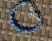 Lapis Lazuli Stone Bracelet ~ Coin Shaped Stones ~ Natural Semi Precious Stones ~ Bohemian Style ~ Boho ~ Unique Gift ~ One of a Kind