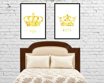 King and Queen wall decore, Crown,  King Crown, mr and mrs, wedding gift, Queen Crown, Set of 2 Prints, Couple Bedroom Art