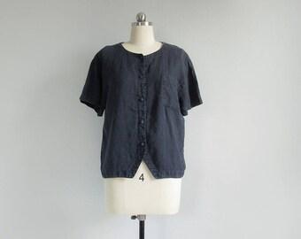 vintage black linen shirt / short sleeve button down top / 90s collarless linen blouse / womens S - M