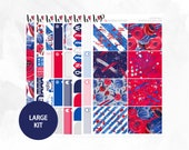 4th of July FOIL Large Kit - Matte or Glossy Erin Condren Planner Stickers -