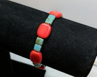 Red Sky Blue Czech Bracelet